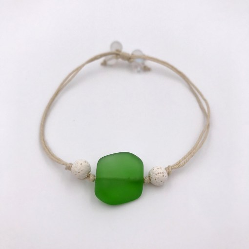 Sea Glass Aromatherapy Bracelet Green