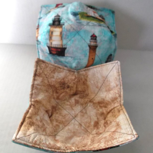 Reversible Lighthouse Microwave Bowl Cozy