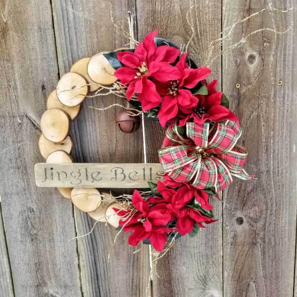 Jingle Bells Wreath 15 inch Maple Slice