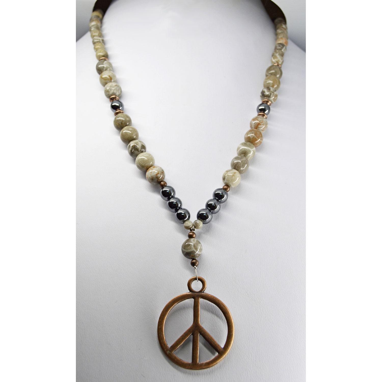 Peace Sign Petoskey Stone Necklace