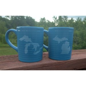 Glossy Blue Ceramic Michigan Mug