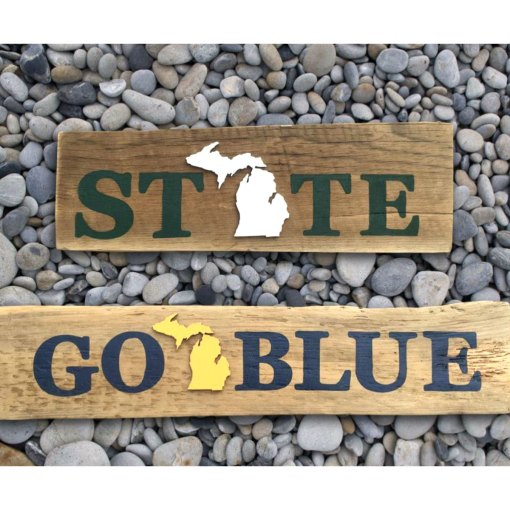 STATE GO BLUE Michigan Barnwood Signs
