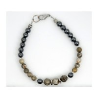 Petoskey Stone and Hematite Bracelet