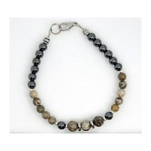 Petoskey Stone and Hematite Bracelet