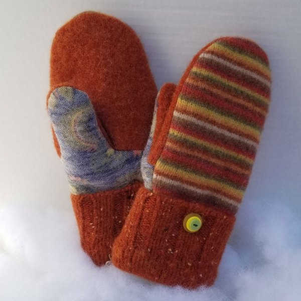 Striped Orange Wool Mittens