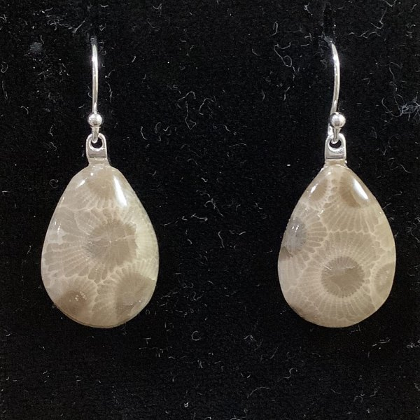 Petoskey Stone Teardrop Earrings
