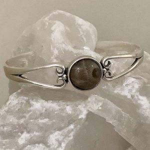 Round Petoskey Stone Cuff Bracelet