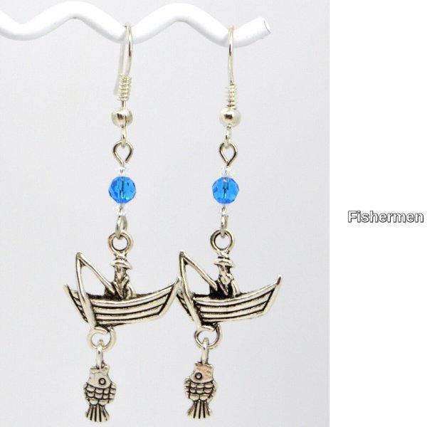Fisherman Silver Charm Dangle Earrings