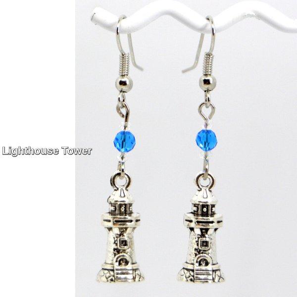 Lighthouse Silver Charm Dangle Earrings