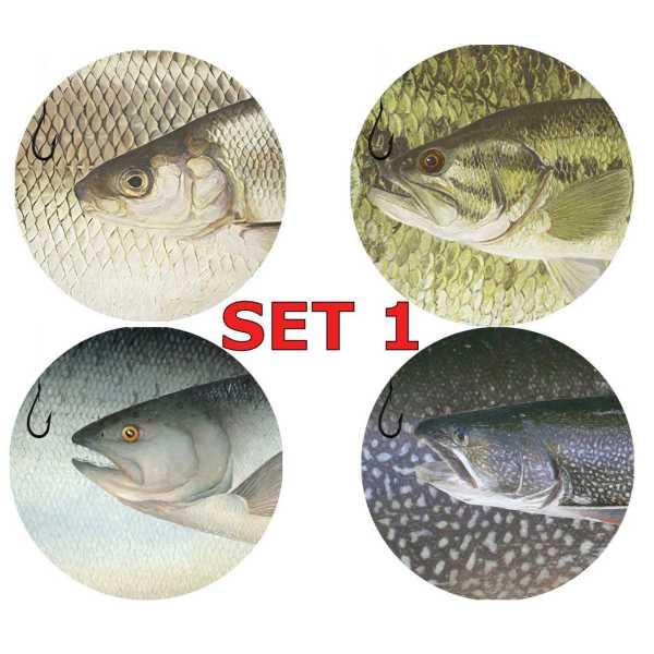 Set 1 Round Coasters Neoprene Michigan Fish Coasters