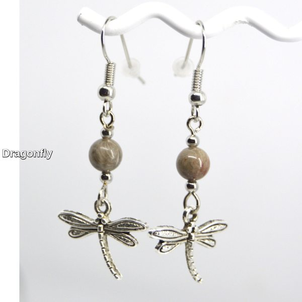 Silver Dragonfly Charm Petoskey Stone Dangle Earrings