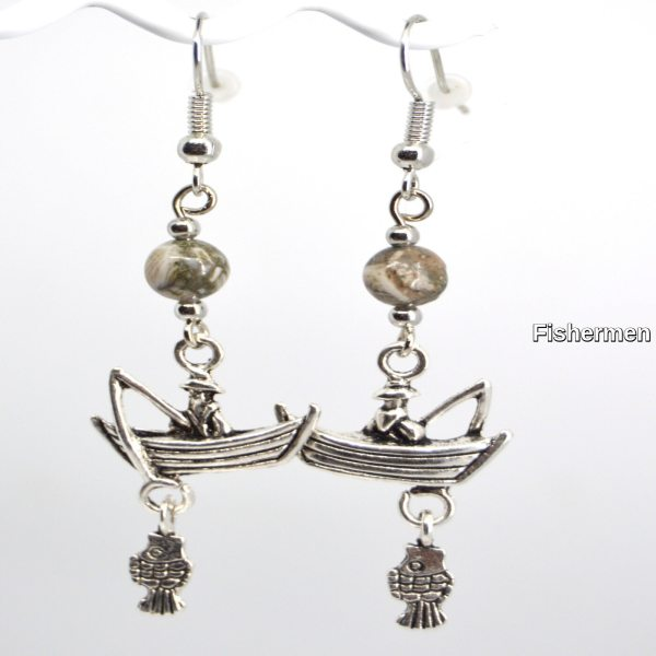 Silver Fisherman Charm Petoskey Stone Dangle Earrings