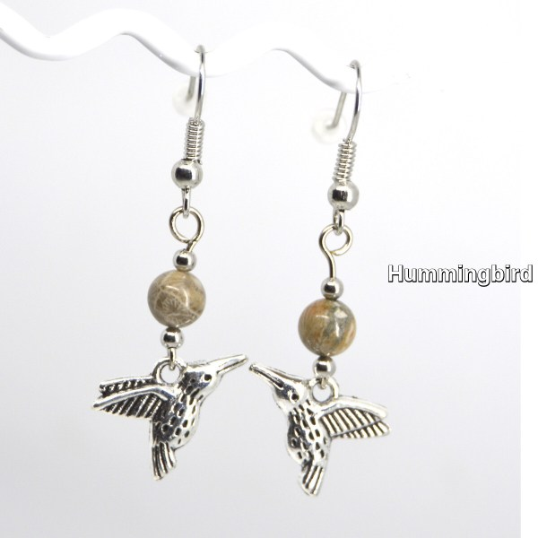 Silver Hummingbirds Charm Petoskey Stone Dangle Earrings