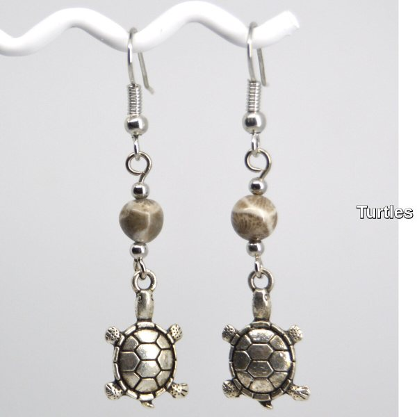 Silver Turtle Charm Petoskey Stone Dangle Earrings