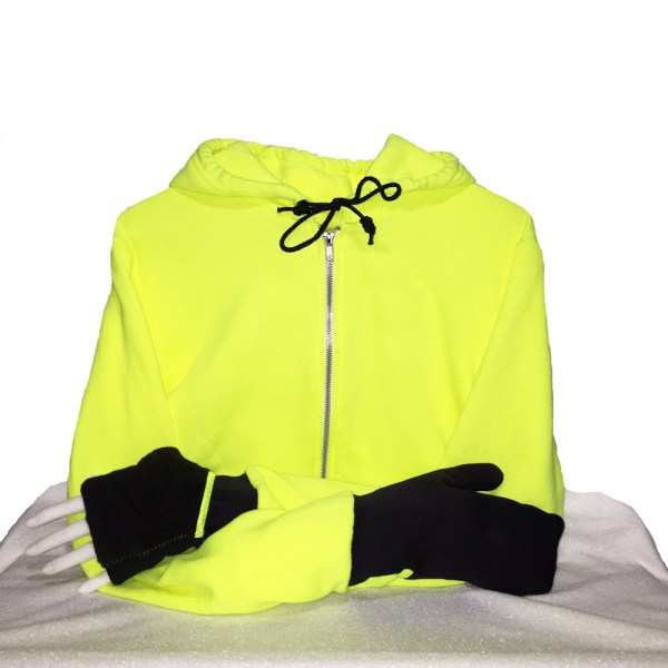 Hoodie with Convertible Turtle Flip Mittens Yellow Black