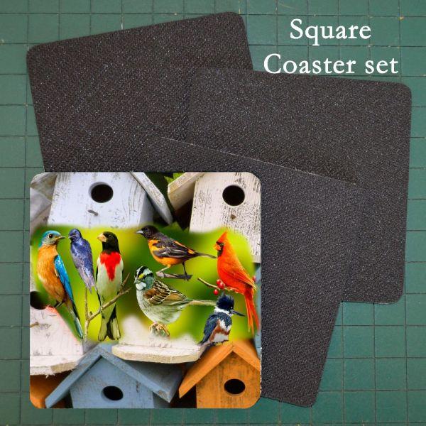 Neoprene Photo Coaster Assorted Birds & Birdhouses 1