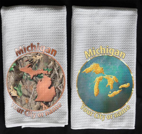 Camo copper MI towel gold Great Lakes towel