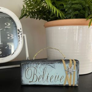 Elegant Believe Ornament Blue with Gold Accents