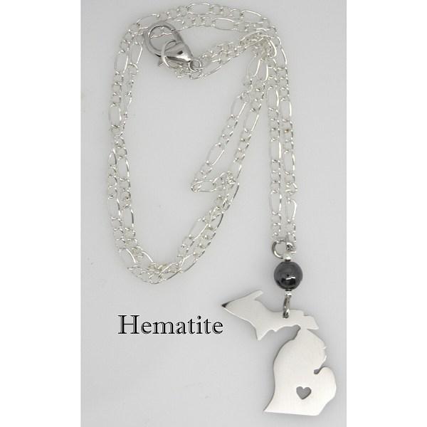 Hematite Stone Michigan Necklace Heart Cut Out