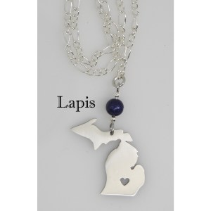 Lapis Stone Michigan Necklace Heart Cut Out