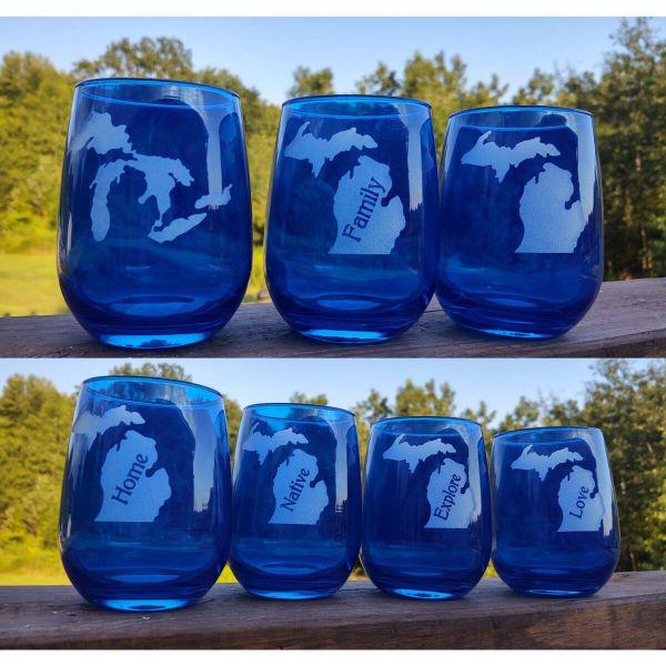 Blue Michigan Stemless Glassware