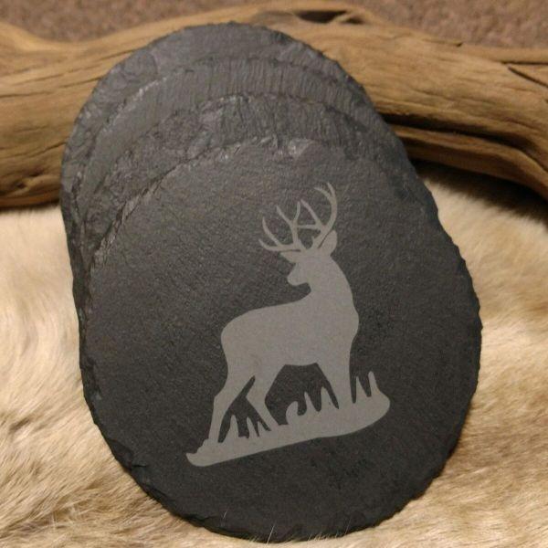 Buck in Grass Slate Coaster