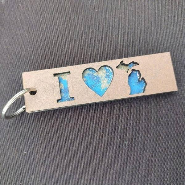 I LOVE MICHIGAN Layered Wood Keychain