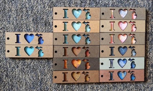 I LOVE MICHIGAN Layered Wood Keychains
