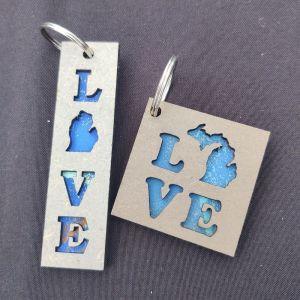 LOVE Michigan Layered Wood Keychain Rectangle Square