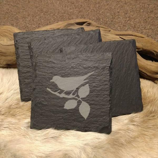 Medium Bird on Branch Slate Coaster