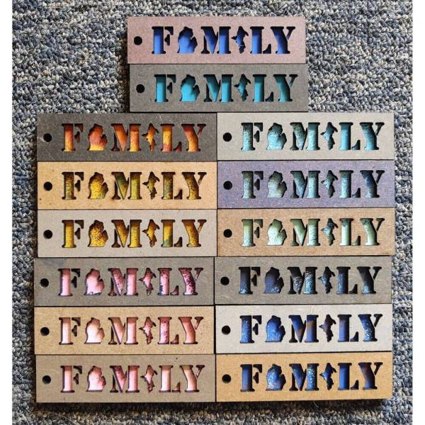 Michigan FAMILY Layered Wood Keychain
