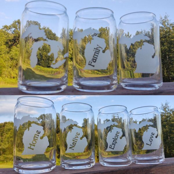 Michigan Theme Beer Can Glasses