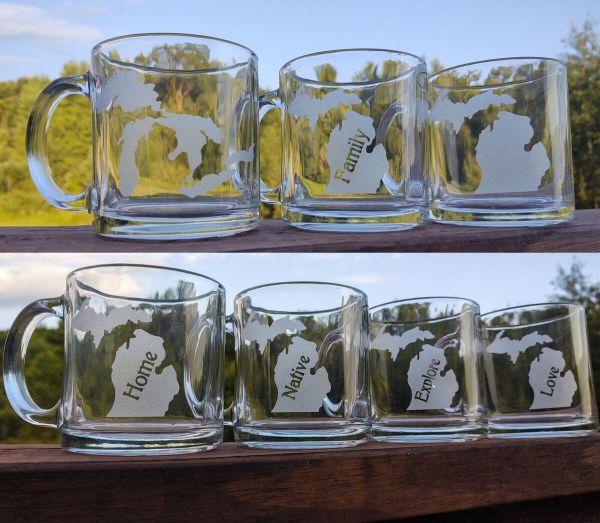Michigan Theme Glass Coffee Mugs