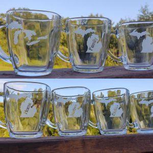 Michigan Theme Tapered Glass Coffee Mug