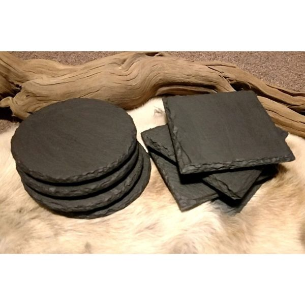 round and square slate coasters