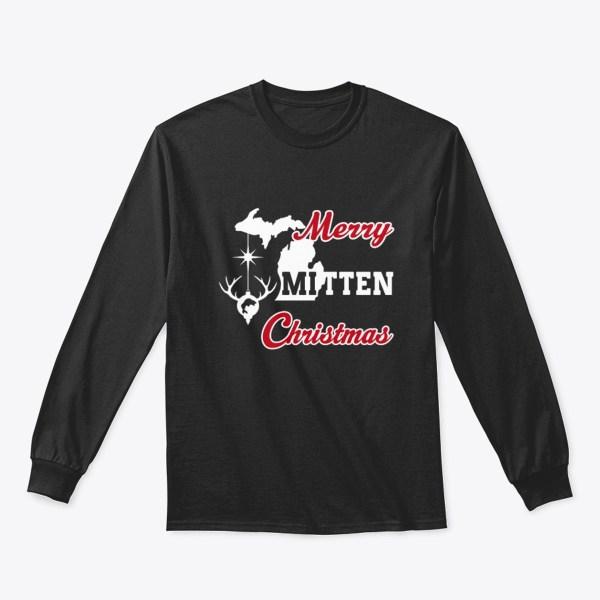 Merry Mitten Christmas Long Sleeve Shirt Black