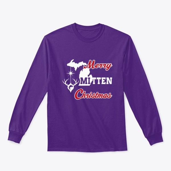Merry Mitten Christmas Long Sleeve Shirt Purple