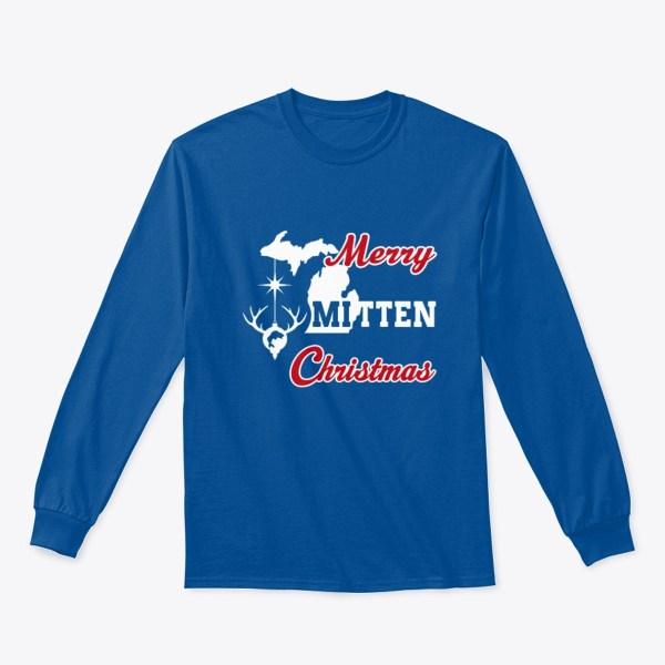 Merry Mitten Christmas Long Sleeve Shirt Royal Blue