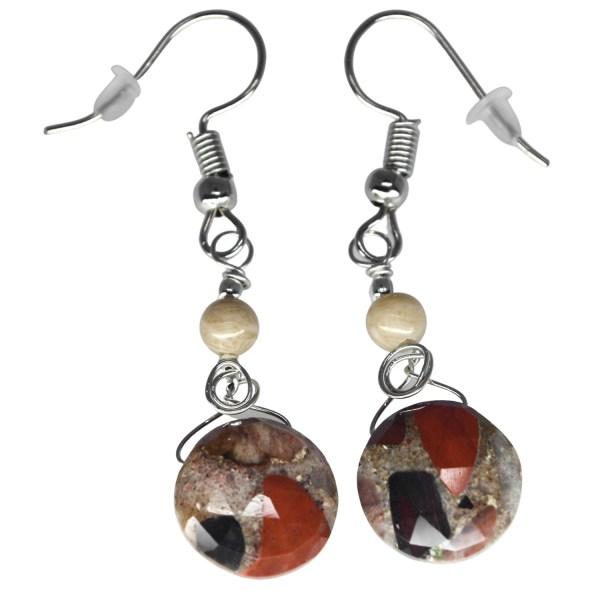 Dangle Puddingstone Earrings