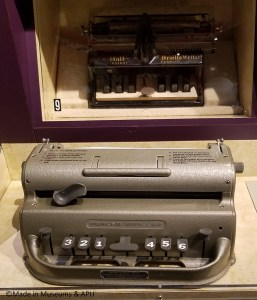 Hall Braille Writer (top, in case) and Perkins Braille Writer (bottom)