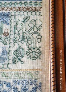 Blackwork example stitch (although technically it's not blackwork because it's using blue thread)