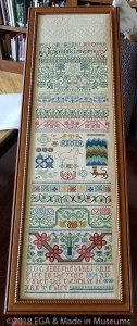 Harold Gordon band sampler showcasing different practice stitches