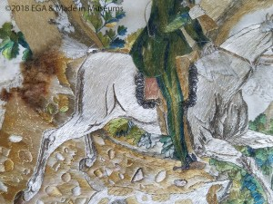 Hunting scene detail of horse and rider