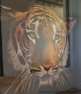 I could not capture a good picture, but this Tiger is a gorgeous example of thread painting