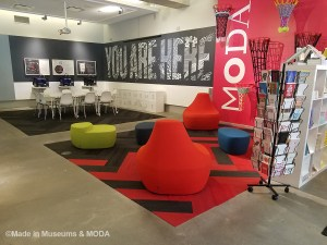 Inside the lobby at MODA
