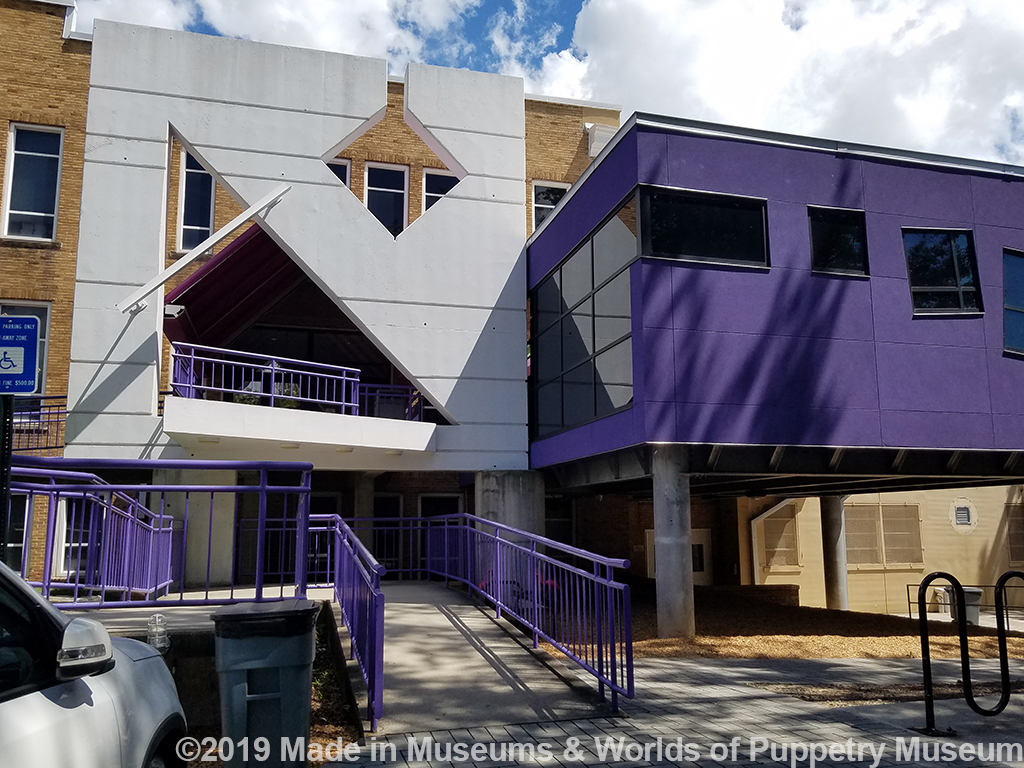 Additions have been made to the outside of the building to reflect its current  puppetry focus, but it still has a lot of the original school building features intact that you see when you take the behind-the-scenes tour