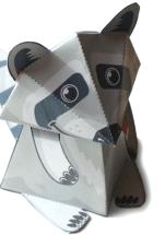 Papercraft imprimible y armable de un mapache / raccoon. Manualidades a Raudales.