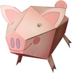 Papercraft imprimible y armable de un cerdo / pig. Manualidades a Raudales.