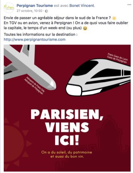 Parisien, viens ici par l'Office du Tourisme de Perpignan