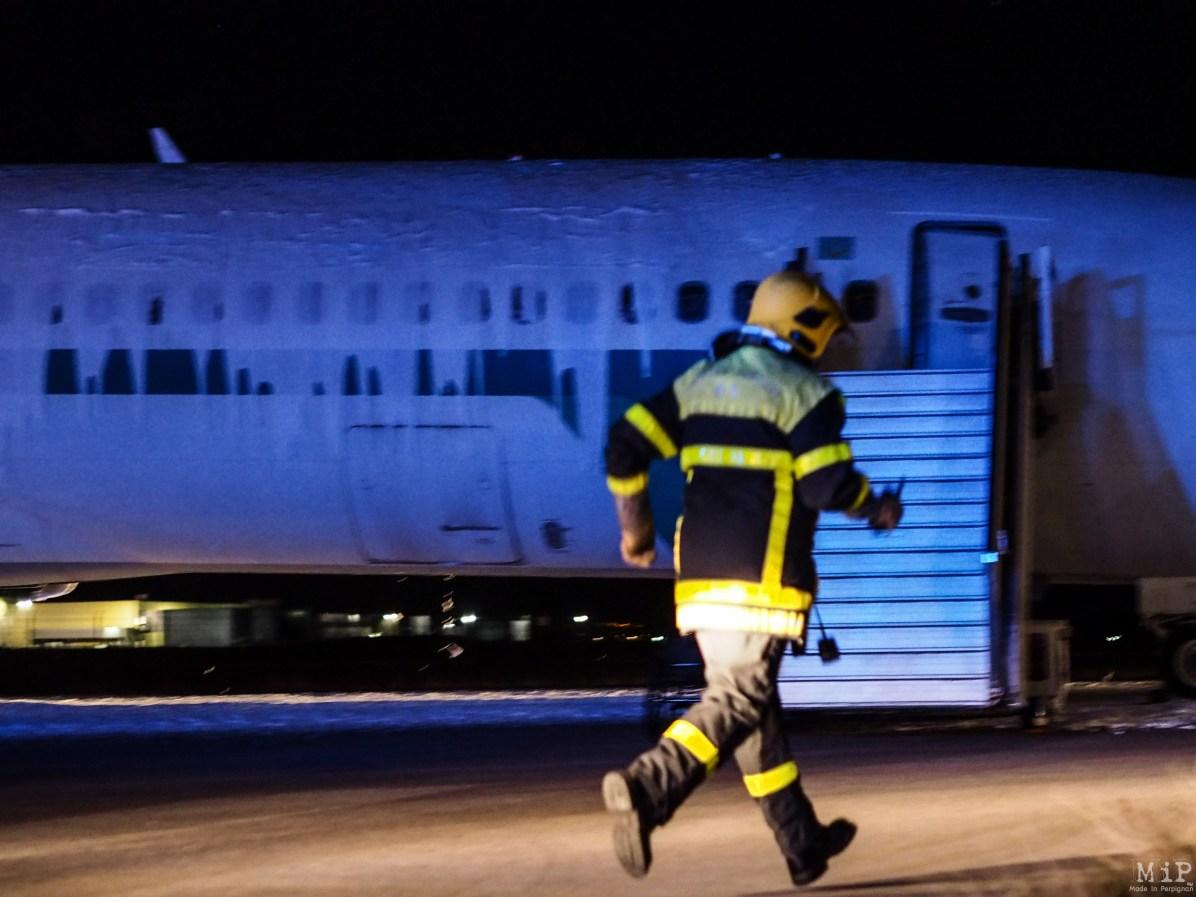 Simulation grandeur nature d'un crash d'avion à Perpignan aéroport